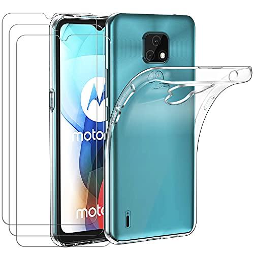 ivoler Funda para Motorola Moto E7, con 3 Unidades Cristal Templado, Transparente Suave TPU Silicona Carcasa Protectora Anti-Choque Caso Delgada Anti-arañazos Case