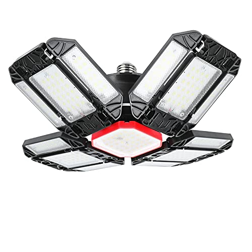 STN Lámpara LED para Garaje Luz de Techo LED para Garaje E27 180W 18000LM 6500K Lámpara Para Taller con 12 Paneles Ajustables Luz LED de Techo para Garaje, Almacén, Cocina,Taller, Bodega, Gimnasio