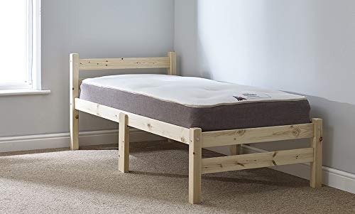 Strictly Beds and Bunks - Samson Heavy Duty Pine Bed Frame including Sprung Mattress (15 cm), 3ft Single