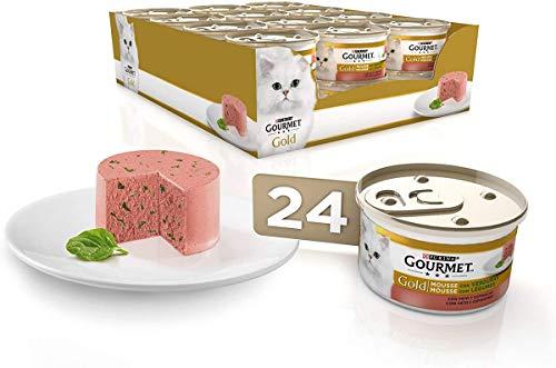 Purina Gourmet Gold Mousse comida para gatos con Pato y Espinacas 24 x 85 g