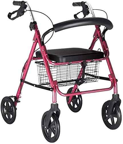 Caminador de 4 ruedas, ligero, plegable, altura ajustable, para personas mayores con cesta de asiento, ayuda para caminar (color: rueda de 6 pulgadas, tamaño: rueda de 6 pulgadas)