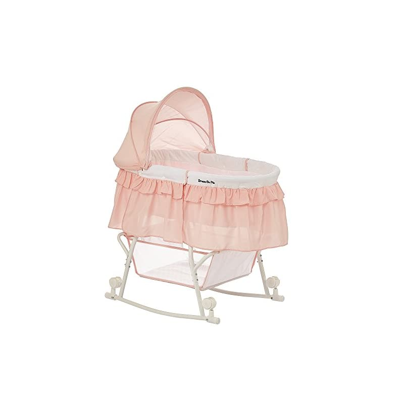 crib bedding and baby bedding dream on me lacy portable 2-in-1 bassinet, rose quartz