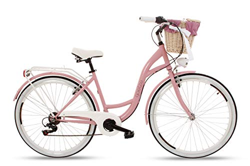 Goetze Mood Damenfahrrad Retro Vintage Holland Citybike, 28 Zoll Alu Räder, 7 Gang Shimano Schaltwerk, Tiefeinstieger, Korb mit Polsterung Gratis!