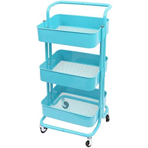 TLV TLV-FH-TR001-BLUE Carro Multiuso Auxiliar con Ruedas Almacenamiento 3 Niveles Cocina Oficina Baño, Azul