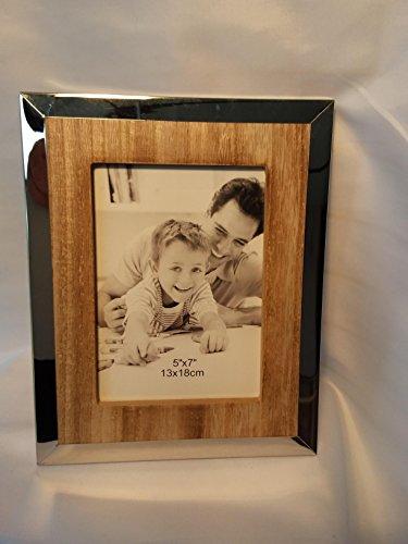 Formano 687739 Fotorahmen 13x18cm Edelstahl - Holz naturfarbenes Holz mit glänzendem Edelstahl-Rand kombiniert