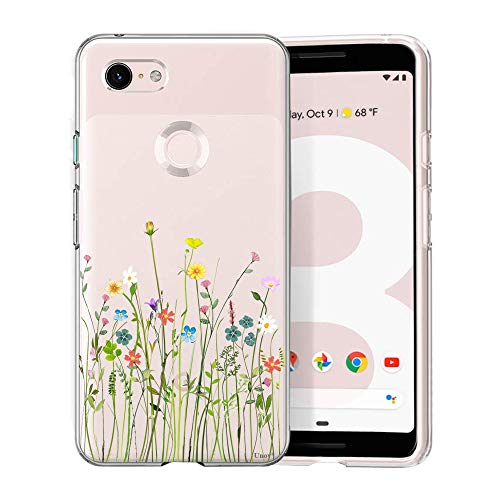 Unov Pixel 3 Case Clear with Design Soft TPU Shock Absorption Slim Embossed Floral Pattern Protective Back Cover for Pixel 3 5.5 inch (Flower Bouquet)