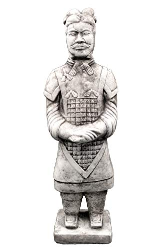 gartendekoparadies.de Massive Steinfigur chinesischer Terrakotta Krieger mittel Motiv I aus Steinguss frostfest