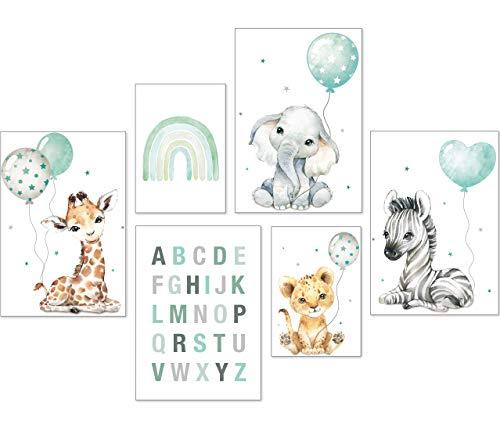 artpin® Poster Set DIN A3 Bilder Kinderzimmer Deko Mädchen Junge - Babyzimmer Bilderwand 4X A3 & 2X A4 - Regenbogen ABC Safari Tiere Mint P70