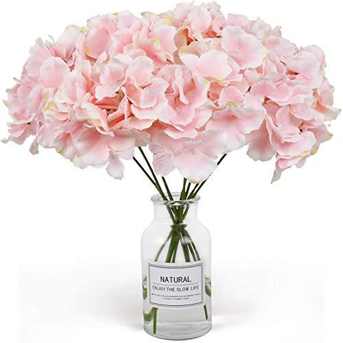 YYHMKB Flores Artificiales 10 Unids Hortensias Artificiales Flor Flores Falsas Toque Real Ramo de Boda Nupcial Flores de Imitación para Fiesta en Casa Hotel Oficina Rosa