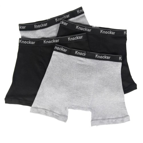 Knocker Men's 4 Pack of Boxer Briefs Underwear-2XL-2 Black, 2 Gray