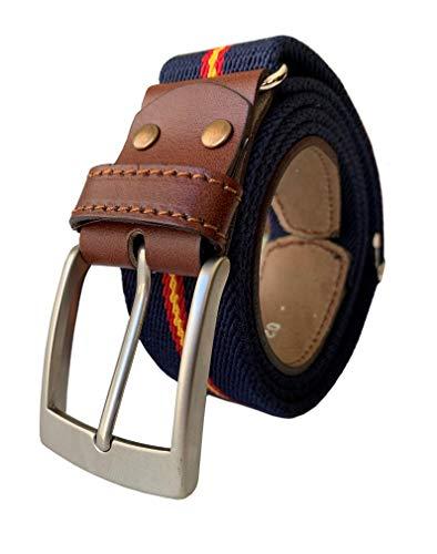 LEGADO Cinturon hombre y pulsera bandera España, cinturon elastico con cuero marron, Piel de Ubrique como nuestras carteras y accesorios. (Marino con Bandera España)