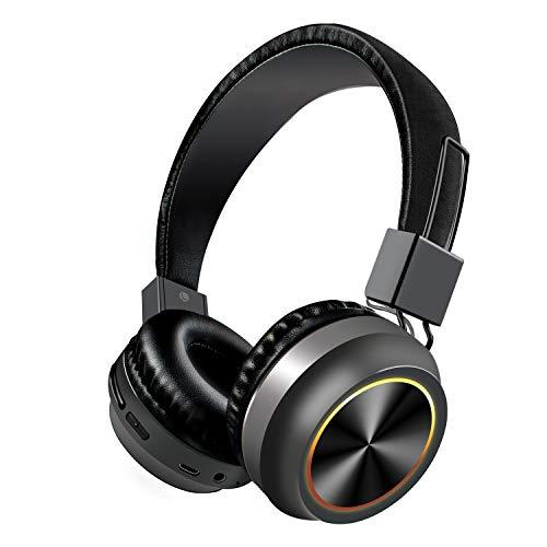 HaiQianXin Drahtloser Bluetooth Kopfhörer LED Faltbarer Kopfhörer Stereoanlage Bluetooth Kopfhörer w/Built in Mic 7 Farben Lichter Unterstützung TF-Karte für Telefon-Tablet-Laptop-TV