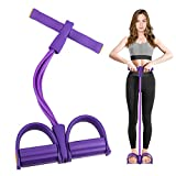 Pedal Resistance Band,4-Tube Elastic Yoga Pedal Multifunction Tension Rope,Exercise Equipment for Home Workouts,Fitness Equipment for Abdomen/Waist/Arm/Leg Stretching Slimming Training (Purple)