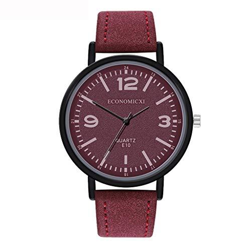 Neuer Trend Damen Römisch Armbanduhr Uhr, Frauen Klassisch Minimalistisch Ultra Dünne Analog Quarz Uhren Ultradünn Damenuhr Lederarmband Damenarmbanduhr Geschenk LEEDY