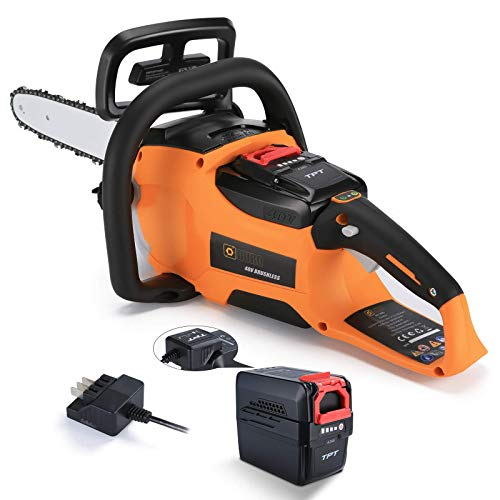 Duro 40Vmax 14-Inch Cordless Chainsaw,4.0AH Lithium-Ion Battery Powered Chainsaw Brushless Chain Saws Charger Included Up to 150 Cuts for Garden Bush Wood Cutting with Chainsaws Bar Cover