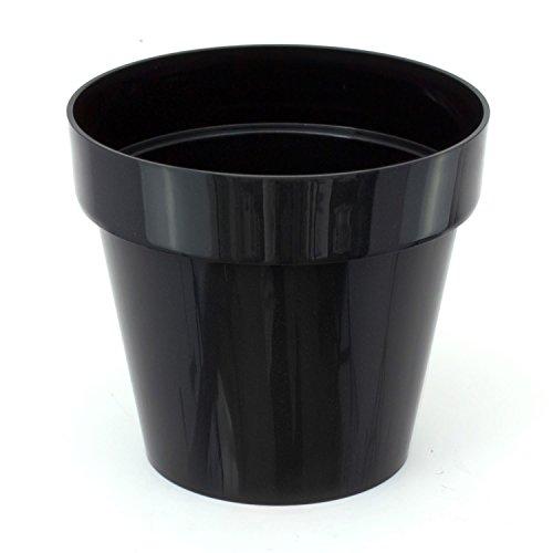 Pot de fleur Cube Shine 0.6 Lt, en noir brillant