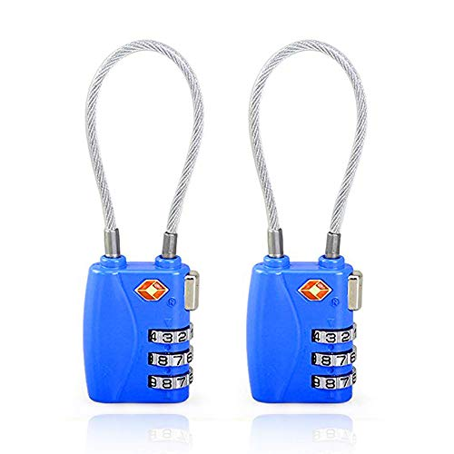 ZHEGE TSA Approved Luggage Lock, 3 Digit Combination Cable Padlock for School Gym Locker, Luggage, Suitcase, Baggage