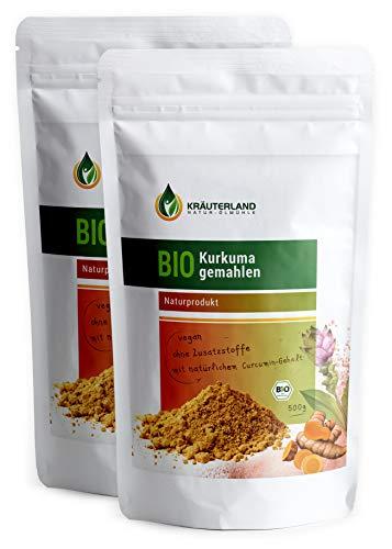Kräuterland Bio Kurkuma gemahlen, Kurkumawurzel mit Curcumin, 100% rein, in 500g / 1000g, Gewürz, Curcuma Latte, goldene Milch, Kurkuma Tee (2x500g)