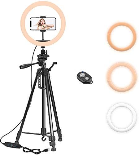 PEYOU Luce ad Anello LED, 12' Anello Luminoso Dimmerabile con Treppiede da 161 cm, 18W, Ricevitore Bluetooth, Modalità a 3 Luci e 10 Luminosità Regolabile per Trucco, Selfie e Video YouTube.