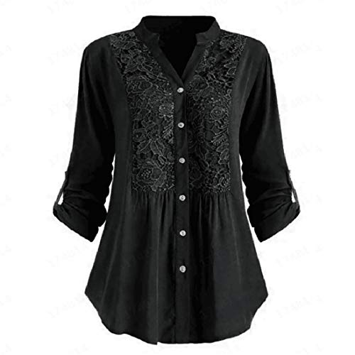 HJHK T Shirt Women Long Sleeve Solid Color Sexy V Neck Lace Button Patchwork Loose Stretch Shirt Business Casual Fashion Retro Sweatshirt Top Autumn New Christmas Blouse 4XL