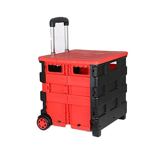 SYLOZ - Carro plegable de plástico para la compra, 25 kg, caja de almacenamiento plegable con ruedas con mango de aluminio (color: rojo)
