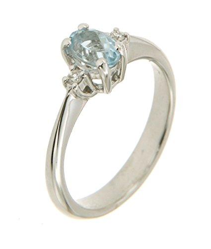 Anello in oro bianco 750 18kt con acquamarina e diamanti - N250