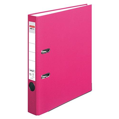 Herlitz 11053691 Ordner maX.file protect (A4, 5 cm, mit Einsteckrückenschild) pink