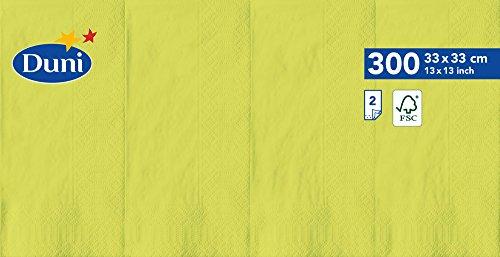 Duni 178648 Serviettes en papier, 33 cm x 33 cm, pliée (1/8), 2 plis, kiwi (lot de 1200)