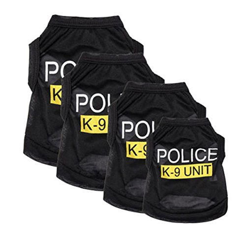 LLY Pet Policeman Costumes, Pet Police Dog T-Shirt Cosplay Puppy Vest Easy to Wear and Clean, Breathable & Comfortable (XS)