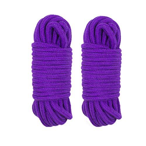 LVE Lot de 2 Cordes en Coton Doux et épais 8 mm Violet