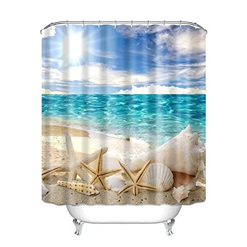 KJCHEN Bath curtain Digital 3D polyester waterproof bathroom curtain beach printer curtain bathroom Bath account to send ring curtain cloth suit (Color : A)