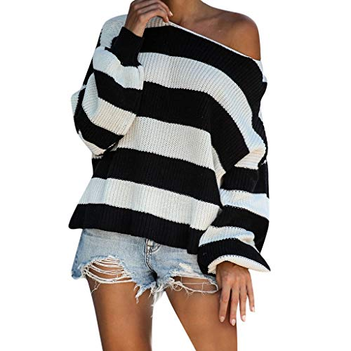 VECDUO Women's Sweater, Casual Stripe Knitting Full Sleeve Loose Pullover Sweatshirt Black
