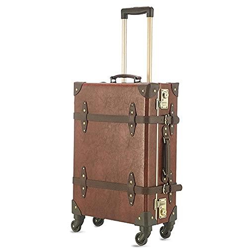 Trasportare valigie retrò in Cabina Bagaglio Borsa da Viaggio Rigida Bagaglio Leggero con Lucchetto TSA Integrato e 4 Ruote piroettanti Mute Black_20in.