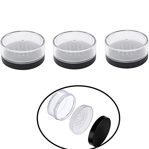 Chytaii 3pcs Polvo Recipiente Caja Contenedor Botes Vacía Transparente para Cosmética Polvo con Tapas de Tamiz Portátil Viaje Multifuncional 50g