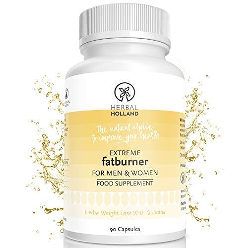 Herbal Holland Extreme Fatburner Pillen für Männer & Frauen - Pflanzliche Diät-Nahrungsergänzung mit Guaraná, Vitamin B3 & Grüntee-Extrakt - Stoffwechsel-Booster - Vegane Diätpillen (90 Kapseln)