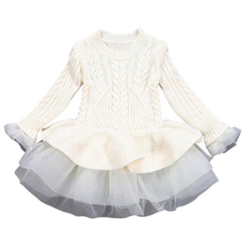 Amlaiworld Baby Mädchen warm Gestrickt Langarm Kleider Mode Niedlich Kinder Flickwerk Pullover Tutu,2-6 Jahren (2 Jahren, Beige)