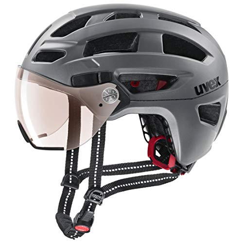 Uvex Unisex– Erwachsene, finale visor vario Fahrradhelm, strato steel, 52-57 cm