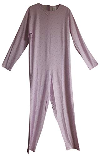 Pijama entero sanitario para personas con cremallera, 100% algodón, manga larga (rosa, mujer: 44)