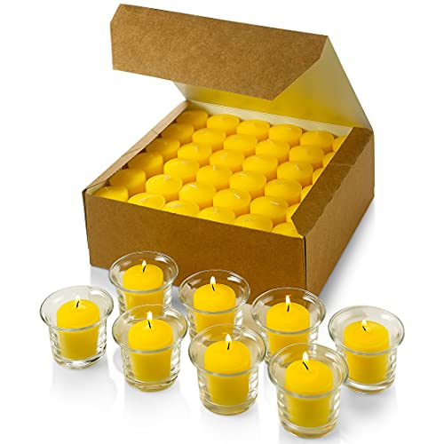 Set of 72 Votive Citronella Candles - Summer Scented Candles - for Indoor/Outdoor Use - 10 Hour Burn...