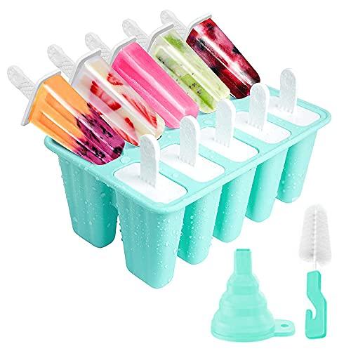 YeenGreen Eisformen, 10 Silikon Popsicle Formen Set, DIY Hausgemachte Kreative Popsicle Formen Set, Wiederverwendbare Eisformen BPA-Frei, Grün