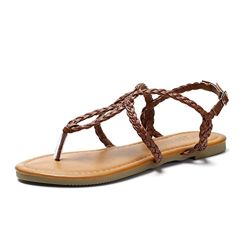 SANDALUP Women#039s Braided Strap Thong Flat Sandals Brown 095
