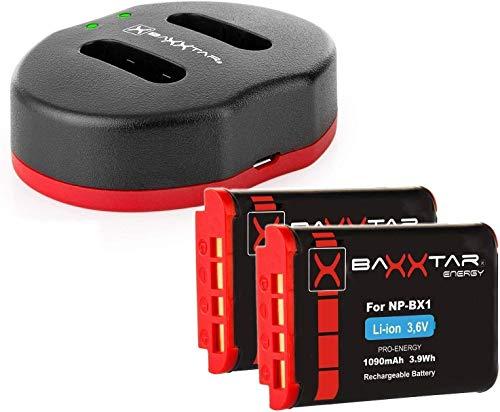 Baxxtar Twin Port 1829 - Cargador Compatible con Batería Sony NP-BX1 y (2X) Baxxtar Pro Batería - para Vlog ZV-1 DSC HX95 HX99 RX100 V RX100 VL
