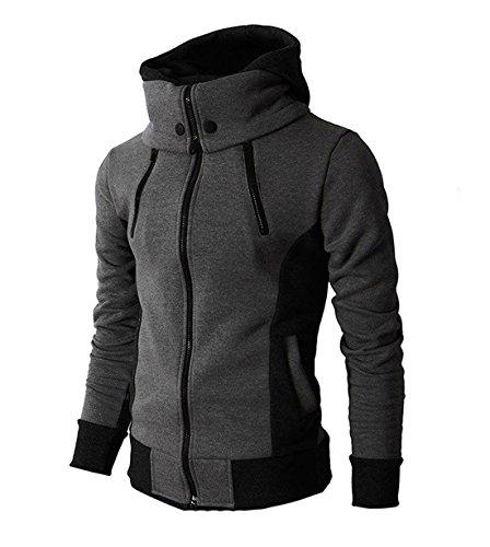 LOCALMODE Men's Double Zipper Hooded Jacket Turtleneck Fleece Hoodie Coat Grey L