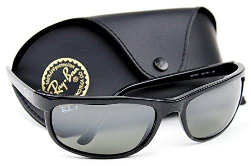 Ray-Ban RB2027 601/W1 PREDATOR 2 Sunglasses Black /Crystal Polarized Mirror Grey Lens., 62