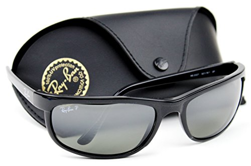 Ray-Ban RB2027 601/W1 PREDATOR 2 Sunglasses Black /Crystal Polarized Mirror Grey Lens., 62