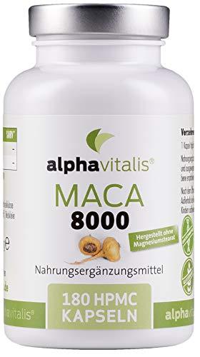 Maca 8000 Gold - 180 Kapseln 20:1 Maca Wurzel Extrakt - deutsche Herstellung - laborgeprüft - vegan - ohne Magnesiumstearat - hochdosiert - 8000mg pro Kapsel in Premiumqualität aus Lepidium meyenii