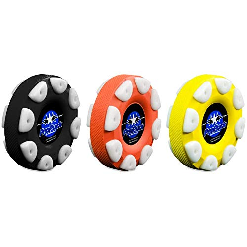 Proguard Roller Hockey Puck Set | ProPuck Hockey Puck with Wheels and a Knurled Side for Controlled Passing and Shooting | Street Pucks Hockey Players Love to Use for Off-Ice Training | Set of 3