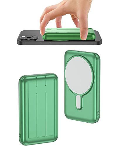 Banco De EnergíA Adsorbible InaláMbrico MagnéTico De 10000Mah, Cargador PortáTil InaláMbrico De Seguridad MagnéTica 15W,Carga RáPida USB-C BateríA Externa para iPhone 12/Mini/Pro/Pro MAX(Verde)