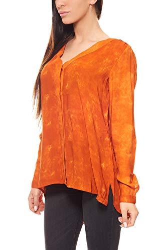 Laura Scott Bluse Damen Kräuselfalten Shirt Freizeitbluse Orange, Größenauswahl:36