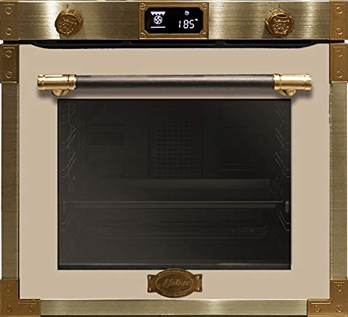 Kaiser EH 6426 ElfAD Art Deco, Retro Pyrolyse Einbaubackofen 60 cm,Backofen,80L, Metallleisten •Antique Gold•, Einbau Elektrobackofen,Teleskop,LED-Display,Joystick-Drehknebeln,Autark,